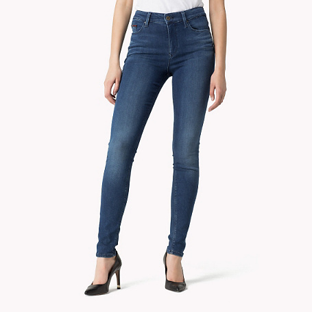 Santana Skinny Fit Jeans - style: skinny leg; length: standard; pattern: plain; waist: high rise; pocket detail: traditional 5 pocket; predominant colour: navy; occasions: casual; fibres: cotton - stretch; jeans detail: dark wash; texture group: denim; pattern type: fabric; season: a/w 2015; wardrobe: basic