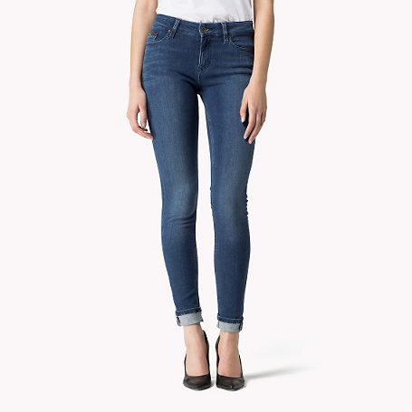 Nora Skinny Fit Jeans - style: skinny leg; length: standard; pattern: plain; waist: high rise; pocket detail: traditional 5 pocket; predominant colour: navy; occasions: casual; fibres: cotton - stretch; jeans & bottoms detail: turn ups; texture group: denim; pattern type: fabric; season: a/w 2015