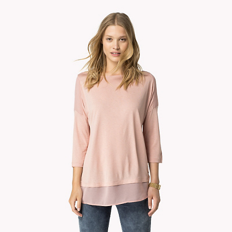 Jissa 3/4 Sleeve T Shirt - neckline: slash/boat neckline; pattern: plain; length: below the bottom; style: t-shirt; predominant colour: blush; occasions: casual, creative work; fibres: viscose/rayon - 100%; fit: body skimming; sleeve length: 3/4 length; sleeve style: standard; pattern type: fabric; texture group: jersey - stretchy/drapey; season: a/w 2015