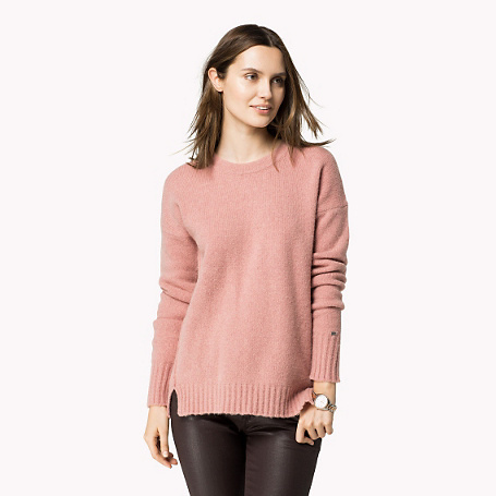 Duca Crew Neck Sweater - neckline: round neck; pattern: plain; style: standard; predominant colour: blush; occasions: casual, work, creative work; length: standard; fibres: wool - mix; fit: standard fit; sleeve length: long sleeve; sleeve style: standard; texture group: knits/crochet; pattern type: knitted - other; season: a/w 2015; trends: pink aw 15; wardrobe: basic