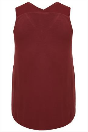 Burgundy V Neck Vest Top With Dipped Hem - neckline: v-neck; pattern: plain; sleeve style: sleeveless; predominant colour: burgundy; occasions: casual, creative work; length: standard; style: top; fibres: polyester/polyamide - 100%; fit: body skimming; sleeve length: sleeveless; texture group: other - light to midweight; season: a/w 2015; wardrobe: highlight