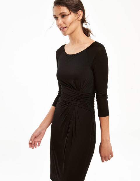Harper Dress Black Women, Black - style: shift; neckline: round neck; pattern: plain; predominant colour: black; occasions: evening; length: just above the knee; fit: body skimming; fibres: viscose/rayon - 100%; sleeve length: 3/4 length; sleeve style: standard; pattern type: fabric; texture group: jersey - stretchy/drapey; season: a/w 2015