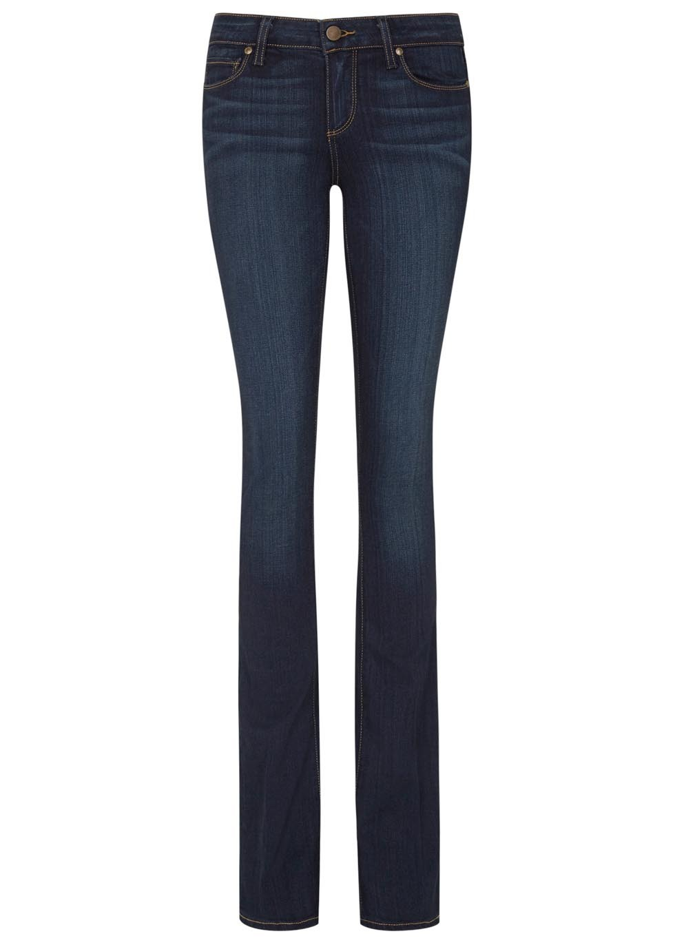 Manhattan Indigo Transcend Bootcut Jeans - style: bootcut; length: standard; pattern: plain; waist: low rise; pocket detail: traditional 5 pocket; predominant colour: navy; occasions: casual, evening, creative work; fibres: cotton - stretch; jeans detail: dark wash; texture group: denim; pattern type: fabric; season: a/w 2015