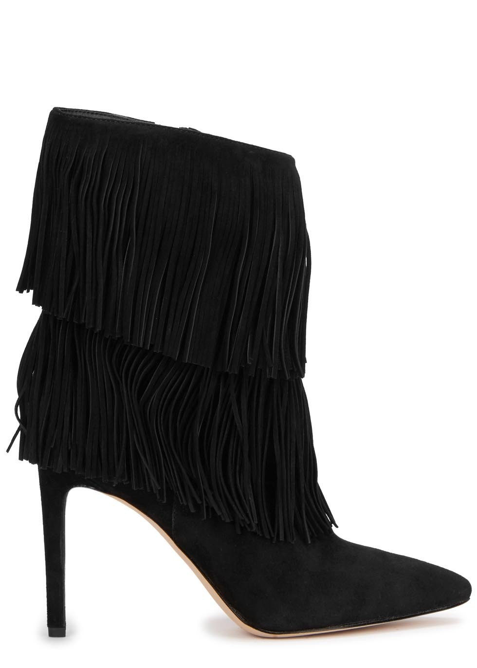 Belinda Black Fringed Suede Boots - predominant colour: black; material: suede; heel height: high; heel: stiletto; toe: pointed toe; boot length: ankle boot; style: standard; finish: plain; pattern: plain; embellishment: fringing; occasions: creative work; season: a/w 2015