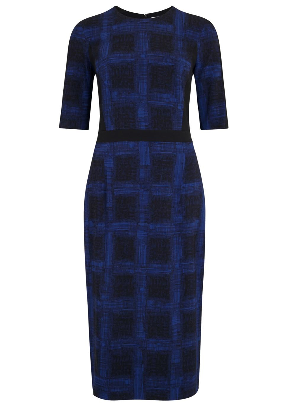 Black And Blue Printed Crepe Dress - style: shift; length: below the knee; pattern: checked/gingham; secondary colour: royal blue; predominant colour: black; occasions: evening; fit: body skimming; fibres: viscose/rayon - stretch; neckline: crew; sleeve length: short sleeve; sleeve style: standard; pattern type: fabric; texture group: woven light midweight; multicoloured: multicoloured; season: a/w 2015; wardrobe: event