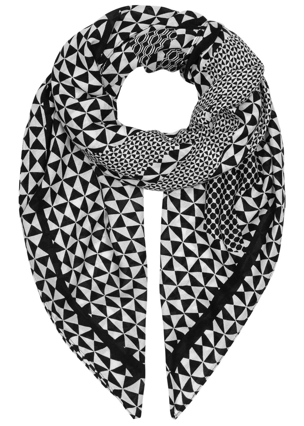 Monochrome Printed Modal Blend Scarf - secondary colour: white; predominant colour: black; occasions: casual, creative work; type of pattern: light; style: square; size: standard; material: fabric; trends: monochrome; pattern: patterned/print; season: a/w 2015; wardrobe: highlight