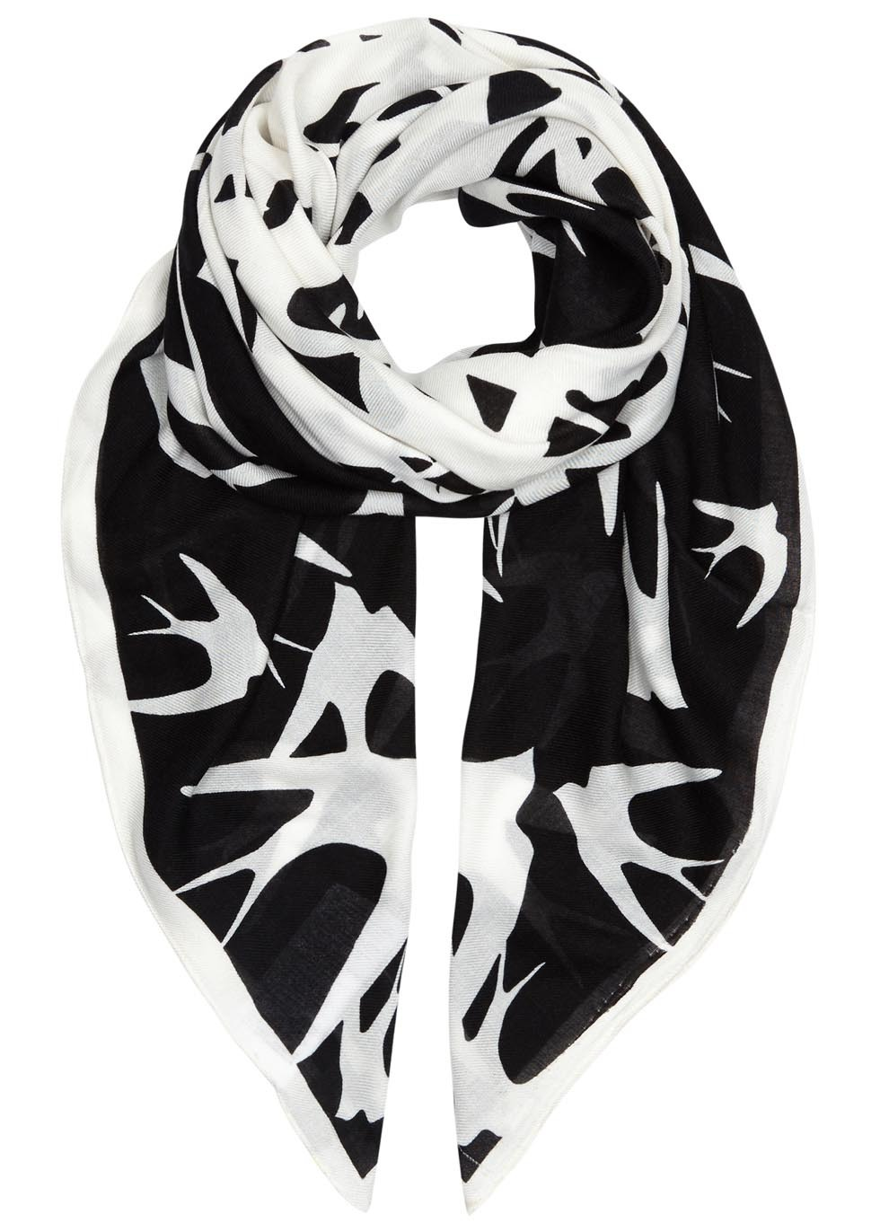 Swallow Swarm Printed Modal Blend Scarf - secondary colour: white; predominant colour: black; occasions: casual, creative work; type of pattern: large; style: square; size: standard; material: fabric; trends: monochrome; pattern: patterned/print; season: a/w 2015; wardrobe: highlight