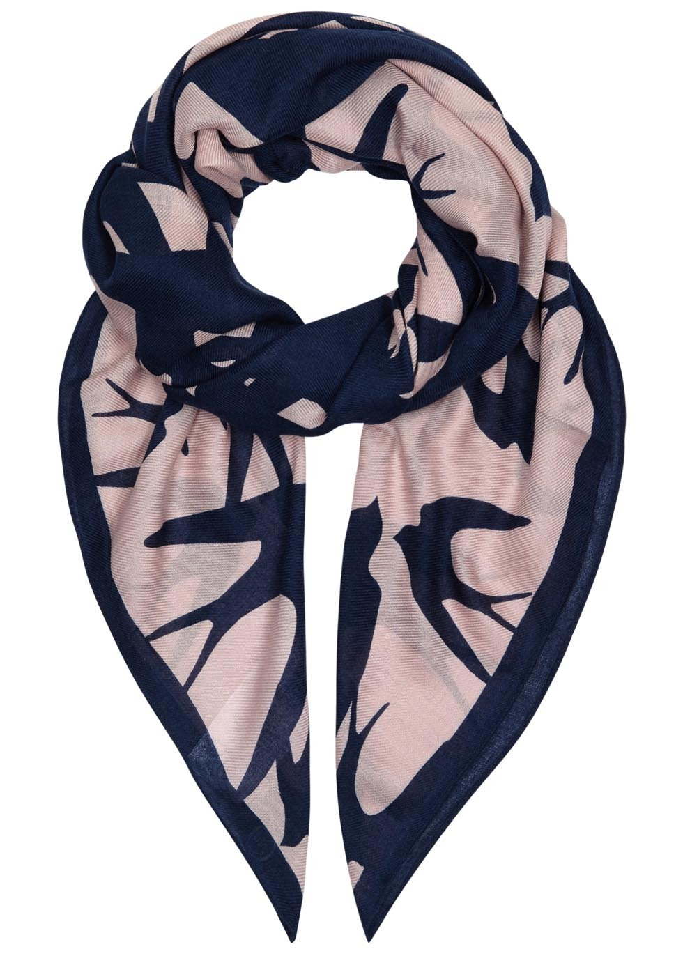 Swallow Swarm Printed Modal Blend Scarf - secondary colour: blush; predominant colour: navy; occasions: casual, evening, creative work; type of pattern: light; style: square; size: standard; material: fabric; pattern: patterned/print; season: a/w 2015; wardrobe: highlight