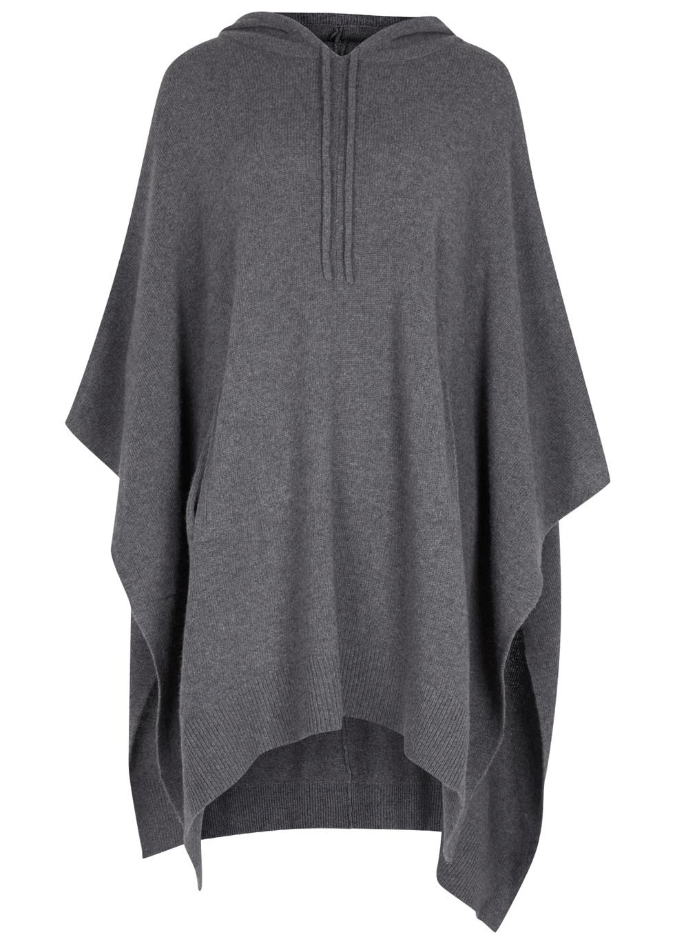Grey Hooded Wool Blend Poncho - sleeve style: dolman/batwing; pattern: plain; neckline: high neck; length: below the bottom; style: poncho; predominant colour: charcoal; occasions: casual; fibres: wool - mix; fit: loose; sleeve length: long sleeve; texture group: knits/crochet; pattern type: knitted - fine stitch; season: a/w 2015; wardrobe: highlight