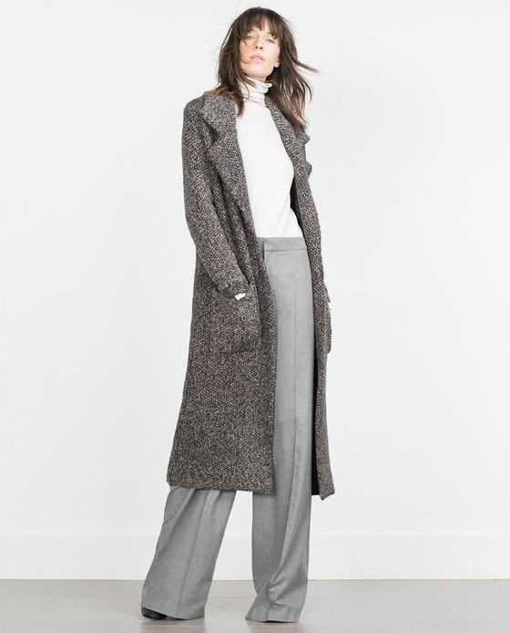 Coat With Large Lapels - pattern: plain; style: single breasted; collar: standard lapel/rever collar; length: calf length; predominant colour: stone; secondary colour: charcoal; occasions: casual, work, creative work; fit: straight cut (boxy); fibres: acrylic - mix; sleeve length: long sleeve; sleeve style: standard; collar break: low/open; pattern type: fabric; texture group: woven bulky/heavy; season: a/w 2015; wardrobe: basic