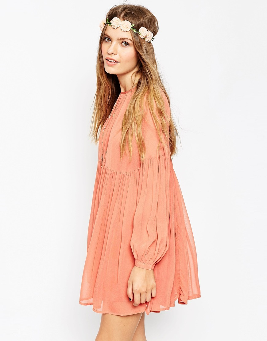 Soft Babydoll Dress Terracotta - style: smock; length: mid thigh; pattern: plain; sleeve style: balloon; predominant colour: nude; occasions: casual; fit: soft a-line; fibres: viscose/rayon - 100%; neckline: crew; hip detail: soft pleats at hip/draping at hip/flared at hip; sleeve length: long sleeve; texture group: sheer fabrics/chiffon/organza etc.; pattern type: fabric; season: a/w 2015