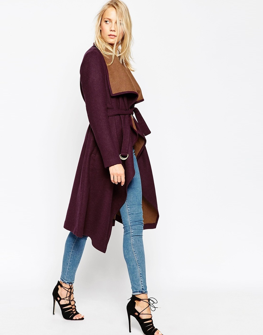 Coat With Waterfall Front And Belt Berry - collar: shawl/waterfall; fit: loose; style: wrap around; predominant colour: burgundy; secondary colour: tan; occasions: casual, creative work; fibres: wool - mix; length: below the knee; waist detail: belted waist/tie at waist/drawstring; sleeve length: long sleeve; sleeve style: standard; collar break: medium; pattern type: fabric; pattern: colourblock; texture group: woven bulky/heavy; season: a/w 2015; wardrobe: highlight