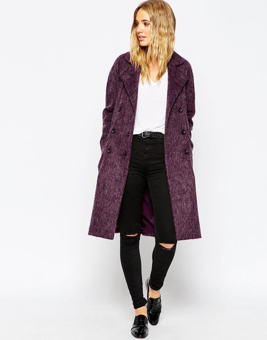Coat In Cocoon Fit Berry - style: double breasted; length: on the knee; collar: standard lapel/rever collar; predominant colour: purple; occasions: casual, creative work; fit: straight cut (boxy); fibres: wool - mix; sleeve length: long sleeve; sleeve style: standard; collar break: low/open; pattern type: fabric; texture group: woven bulky/heavy; pattern: marl; season: a/w 2015; wardrobe: highlight