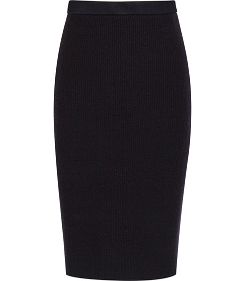 Dalane Knitted Pencil Skirt - length: below the knee; pattern: plain; style: pencil; fit: tight; waist detail: elasticated waist; waist: high rise; predominant colour: black; occasions: casual, work; texture group: knits/crochet; pattern type: knitted - fine stitch; season: a/w 2015