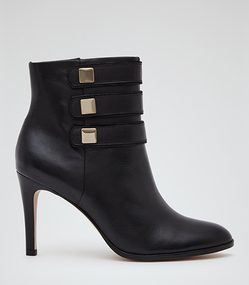 Lerici Round Toe Ankle Boots - predominant colour: black; occasions: evening; material: leather; heel height: high; heel: stiletto; toe: pointed toe; boot length: ankle boot; style: standard; finish: plain; pattern: plain; season: a/w 2015; wardrobe: event