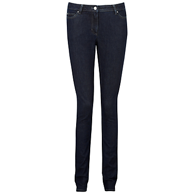 Lancaster Slim Leg Jeans, Indigo - length: standard; pattern: plain; pocket detail: traditional 5 pocket; style: slim leg; waist: mid/regular rise; predominant colour: navy; occasions: casual, evening, creative work; fibres: cotton - stretch; jeans detail: dark wash; texture group: denim; pattern type: fabric; season: a/w 2015; wardrobe: basic