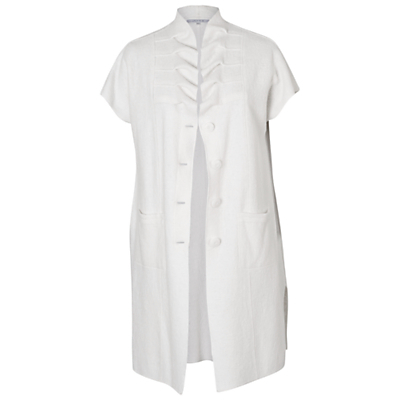 Boiled Wool Sleeveless Coat, Cream - pattern: plain; sleeve style: sleeveless; fit: loose; style: single breasted; collar: high neck; length: mid thigh; predominant colour: ivory/cream; occasions: casual; fibres: wool - 100%; sleeve length: sleeveless; collar break: high; pattern type: fabric; texture group: woven light midweight; season: a/w 2015