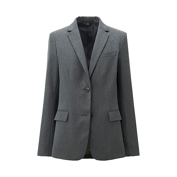 Women Stretch Tailored Jacket Gray - pattern: plain; style: single breasted blazer; collar: standard lapel/rever collar; predominant colour: charcoal; occasions: work, creative work; length: standard; fit: tailored/fitted; sleeve length: long sleeve; sleeve style: standard; collar break: medium; pattern type: fabric; texture group: woven light midweight; season: a/w 2015; wardrobe: investment