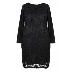 Embroidered Lace Dress - style: shift; fit: tailored/fitted; predominant colour: black; occasions: evening, occasion; length: just above the knee; fibres: silk - mix; neckline: crew; sleeve length: long sleeve; sleeve style: standard; texture group: lace; pattern type: fabric; pattern size: standard; pattern: patterned/print; season: a/w 2015; wardrobe: event