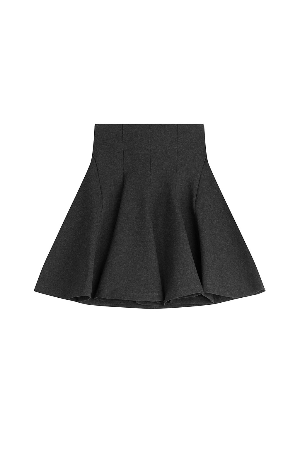 Flared Skirt Grey - length: mini; pattern: plain; fit: loose/voluminous; waist: mid/regular rise; predominant colour: black; occasions: casual; style: a-line; hip detail: structured pleats at hip; pattern type: fabric; texture group: woven light midweight; season: a/w 2015