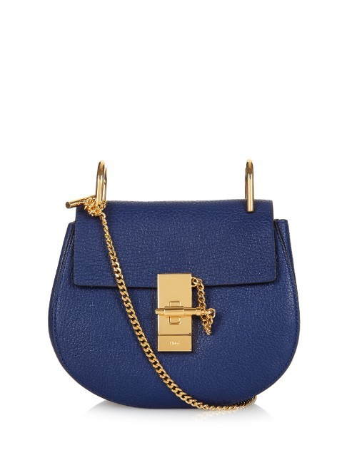 Drew Mini Leather Cross Body Bag - predominant colour: royal blue; type of pattern: standard; style: saddle; length: across body/long; size: small; material: leather; pattern: plain; finish: plain; embellishment: chain/metal; occasions: creative work; season: a/w 2015