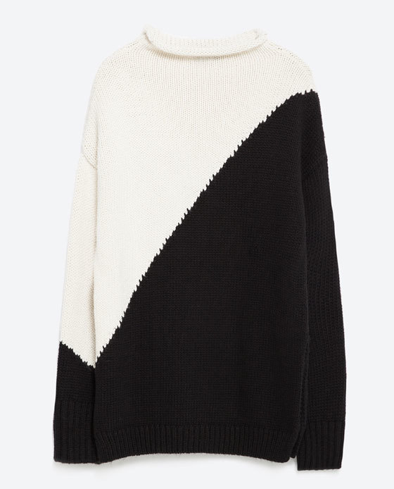 Block Colour Sweater - neckline: high neck; length: below the bottom; style: standard; secondary colour: stone; predominant colour: black; occasions: casual; fibres: cotton - mix; fit: loose; sleeve length: long sleeve; sleeve style: standard; texture group: knits/crochet; pattern type: knitted - other; pattern: colourblock; multicoloured: multicoloured; season: a/w 2015; wardrobe: highlight