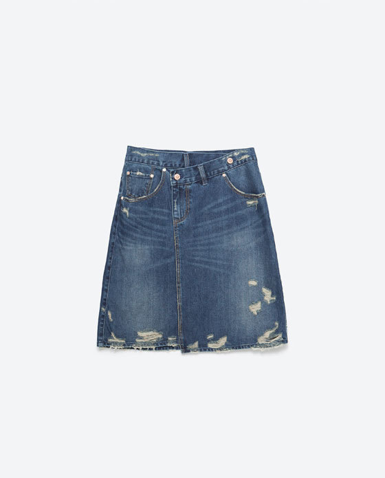 Denim Skirt - length: mini; pattern: plain; fit: loose/voluminous; waist: mid/regular rise; predominant colour: denim; occasions: casual; style: a-line; fibres: cotton - mix; texture group: denim; pattern type: fabric; season: a/w 2015; wardrobe: basic