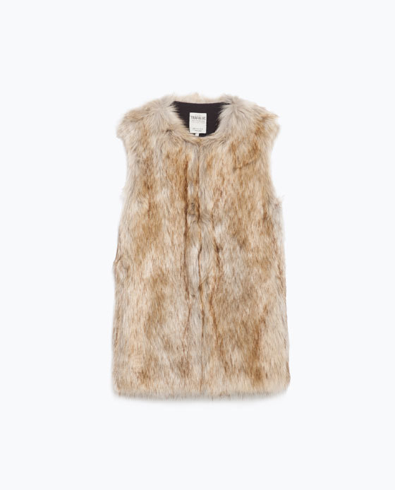 Long Fur Waistcoat - pattern: plain; sleeve style: sleeveless; style: gilet; collar: round collar/collarless; predominant colour: camel; occasions: casual, creative work; length: standard; fit: straight cut (boxy); sleeve length: sleeveless; texture group: fur; collar break: high; pattern type: fabric; season: a/w 2015; wardrobe: highlight