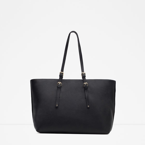 Plain Tote Bag - predominant colour: black; occasions: casual, work, creative work; style: tote; length: handle; size: oversized; material: faux leather; pattern: plain; finish: plain; season: a/w 2015; wardrobe: investment
