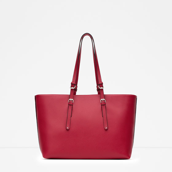 Plain Tote Bag - occasions: casual, creative work; style: tote; length: handle; size: oversized; material: faux leather; pattern: plain; finish: plain; predominant colour: raspberry; season: a/w 2015; wardrobe: highlight