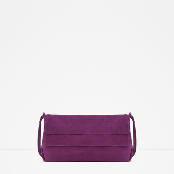 Suede Messenger Bag - predominant colour: purple; occasions: casual, evening, creative work; style: messenger; length: shoulder (tucks under arm); size: standard; material: suede; pattern: plain; finish: plain; season: a/w 2015; wardrobe: highlight