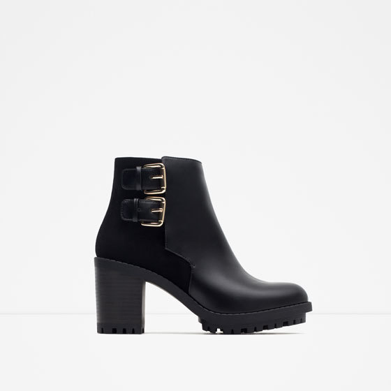 Ankle Boot With Buckles - predominant colour: black; occasions: casual, creative work; material: faux leather; heel height: high; embellishment: buckles; heel: block; toe: round toe; boot length: ankle boot; style: standard; finish: plain; pattern: plain; shoe detail: tread; season: a/w 2015; wardrobe: highlight