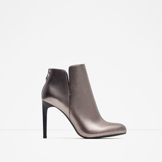 Shiny Heel Ankle Boot - material: leather; heel height: high; heel: stiletto; toe: pointed toe; boot length: ankle boot; style: standard; finish: metallic; pattern: plain; occasions: creative work; predominant colour: pewter; season: a/w 2015; wardrobe: highlight