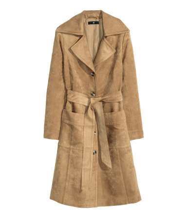 Coat In Imitation Suede - pattern: plain; style: trench coat; length: on the knee; collar: standard lapel/rever collar; predominant colour: camel; occasions: casual, creative work; fit: tailored/fitted; fibres: polyester/polyamide - 100%; waist detail: belted waist/tie at waist/drawstring; sleeve length: long sleeve; sleeve style: standard; collar break: medium; pattern type: fabric; texture group: suede; season: a/w 2015; wardrobe: highlight
