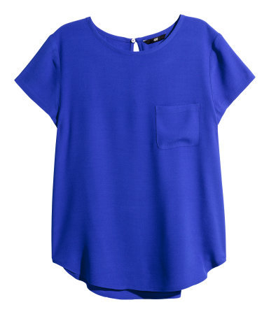 Crêpe Blouse - pattern: plain; predominant colour: royal blue; occasions: casual, creative work; length: standard; style: top; fibres: polyester/polyamide - 100%; fit: straight cut; neckline: crew; back detail: keyhole/peephole detail at back; sleeve length: short sleeve; sleeve style: standard; texture group: crepes; pattern type: fabric; season: a/w 2015