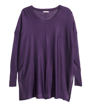 + Fine Knit Jumper - neckline: round neck; sleeve style: dolman/batwing; pattern: plain; length: below the bottom; style: tunic; predominant colour: aubergine; occasions: casual; fibres: viscose/rayon - stretch; fit: loose; sleeve length: long sleeve; texture group: knits/crochet; pattern type: knitted - fine stitch; season: a/w 2015; wardrobe: highlight