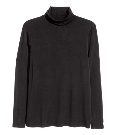 + Polo Neck Top - pattern: plain; neckline: roll neck; predominant colour: charcoal; occasions: casual, creative work; length: standard; style: top; fit: body skimming; sleeve length: long sleeve; sleeve style: standard; pattern type: fabric; texture group: jersey - stretchy/drapey; season: a/w 2015; wardrobe: basic