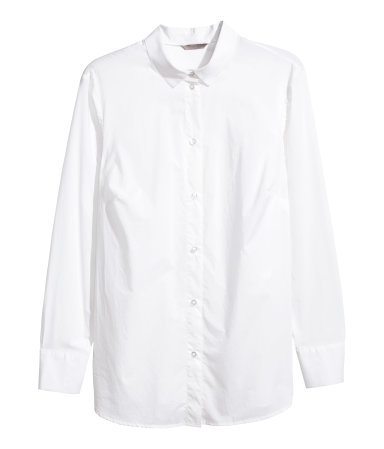 + Cotton Shirt - neckline: shirt collar/peter pan/zip with opening; pattern: plain; style: shirt; predominant colour: white; occasions: work, creative work; length: standard; fibres: cotton - 100%; fit: body skimming; sleeve length: long sleeve; sleeve style: standard; texture group: cotton feel fabrics; pattern type: fabric; season: a/w 2015; wardrobe: basic