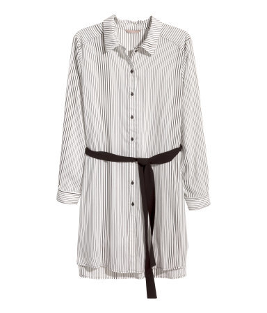 + Patterned Tunic - neckline: shirt collar/peter pan/zip with opening; length: below the bottom; style: shirt; pattern: pinstripe; waist detail: belted waist/tie at waist/drawstring; predominant colour: white; secondary colour: black; occasions: casual, creative work; fibres: polyester/polyamide - 100%; fit: straight cut; sleeve length: long sleeve; sleeve style: standard; pattern type: fabric; pattern size: standard; texture group: woven light midweight; season: a/w 2015; wardrobe: highlight