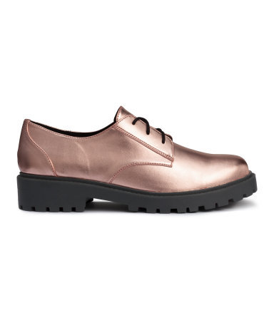 Shoes - predominant colour: bronze; occasions: casual; material: faux leather; heel height: flat; toe: round toe; finish: metallic; pattern: plain; style: lace ups; shoe detail: tread; season: a/w 2015; wardrobe: highlight
