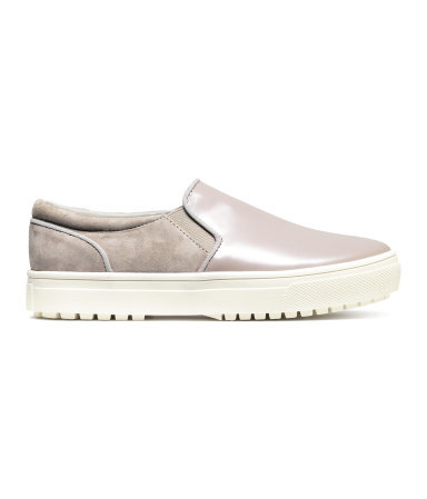 Leather And Sueded Trainers - predominant colour: taupe; occasions: casual; material: faux leather; heel height: flat; toe: round toe; finish: plain; pattern: plain; shoe detail: moulded soul; style: skate shoes; season: a/w 2015; wardrobe: highlight