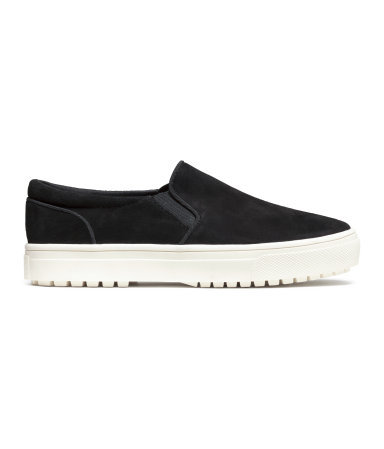 Suede Trainers - predominant colour: black; occasions: casual, activity; material: faux leather; heel height: flat; toe: round toe; finish: plain; pattern: plain; shoe detail: moulded soul; style: skate shoes; season: a/w 2015