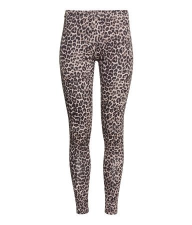 Jersey Leggings - length: standard; style: leggings; waist detail: elasticated waist; waist: mid/regular rise; secondary colour: chocolate brown; predominant colour: camel; occasions: casual; texture group: jersey - clingy; fit: skinny/tight leg; pattern type: fabric; pattern: animal print; pattern size: standard (bottom); season: a/w 2015; wardrobe: highlight