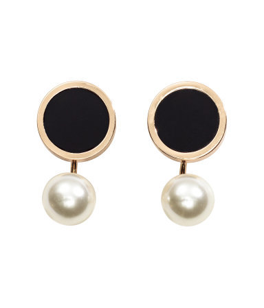 Earrings With Pearls - secondary colour: ivory/cream; predominant colour: black; occasions: evening, occasion; style: drop; length: short; size: standard; material: chain/metal; fastening: pierced; finish: metallic; embellishment: pearls; season: a/w 2015; wardrobe: event