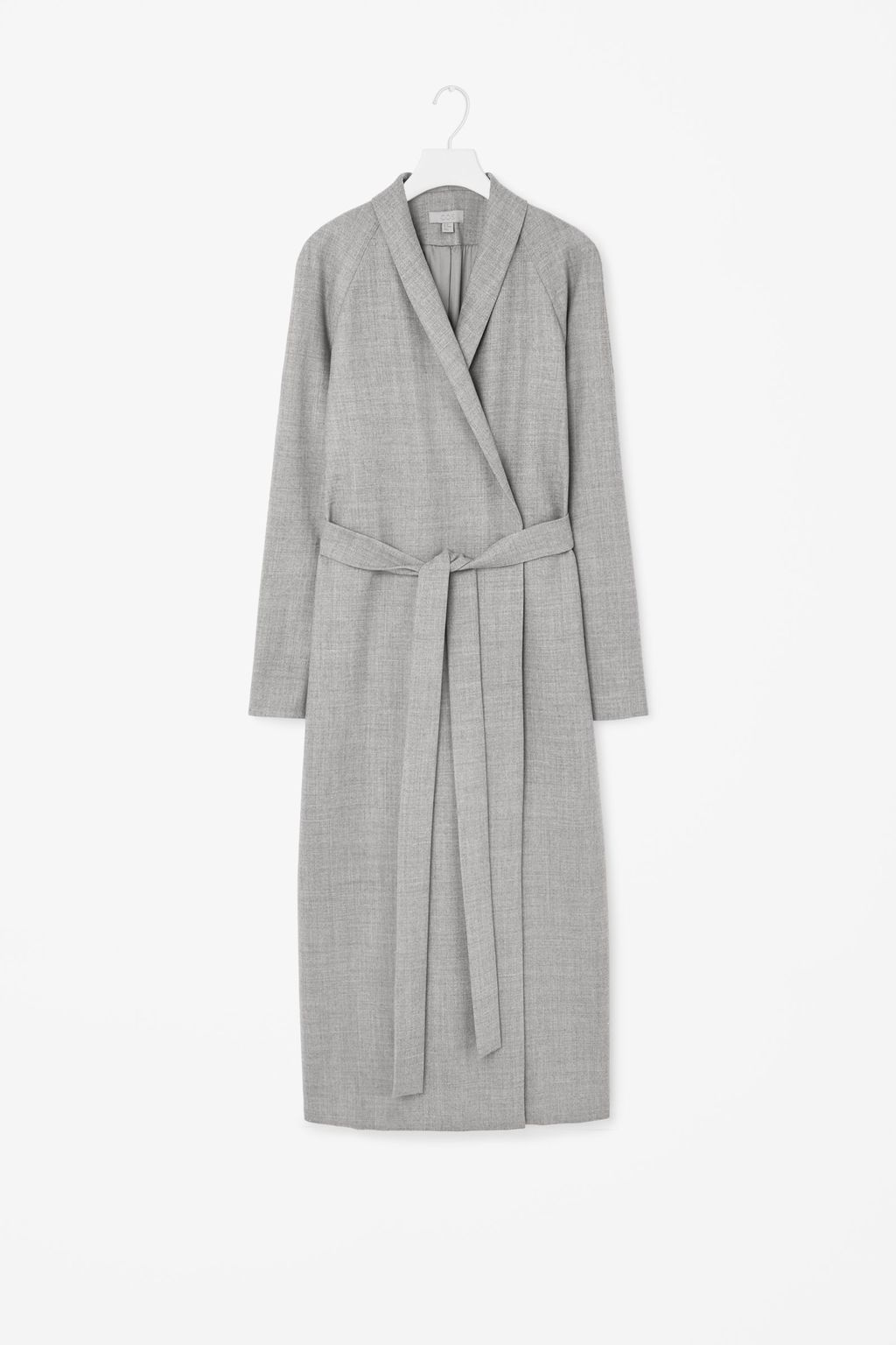 Full Length Wool Coat - collar: shawl/waterfall; style: wrap around; predominant colour: mid grey; occasions: casual, creative work; fit: straight cut (boxy); fibres: wool - 100%; length: below the knee; waist detail: belted waist/tie at waist/drawstring; sleeve length: long sleeve; sleeve style: standard; collar break: medium; pattern type: fabric; pattern size: light/subtle; texture group: woven bulky/heavy; pattern: marl; season: a/w 2015
