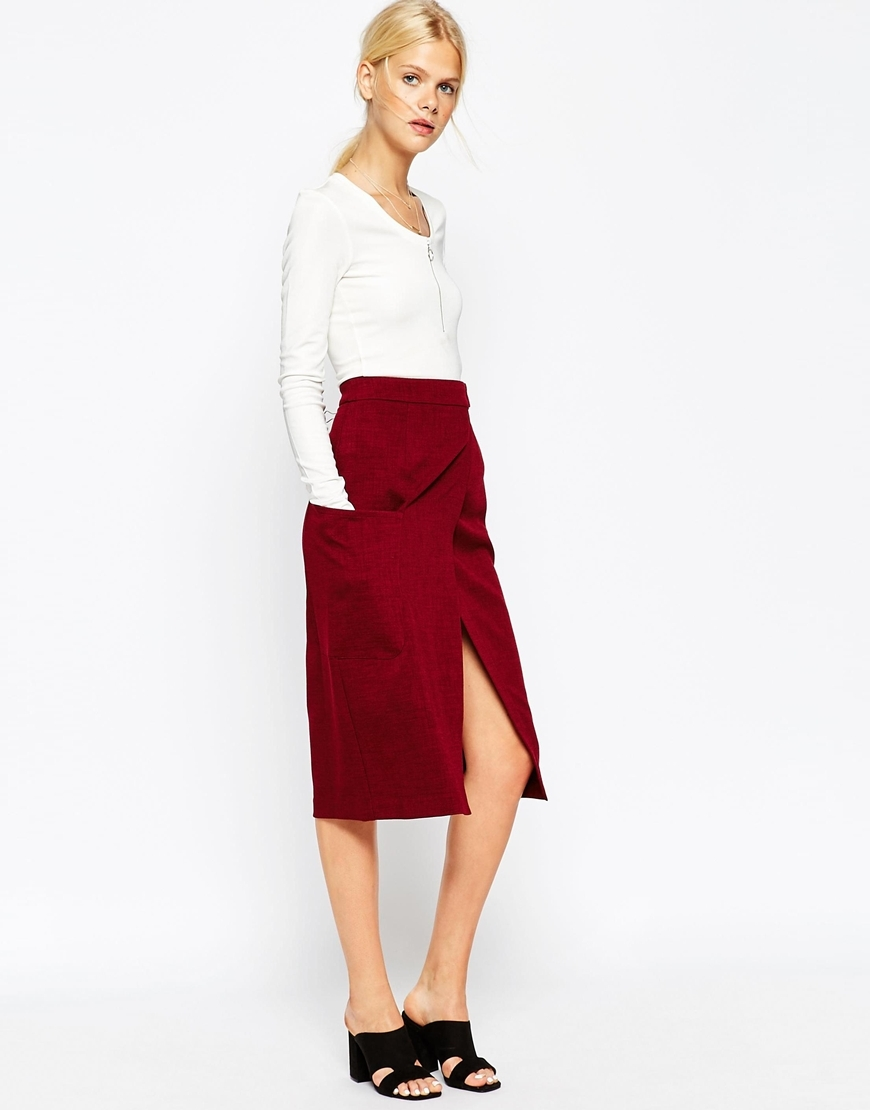 Premium A Line Wrap Skirt With Pocket Detail Wine - length: below the knee; pattern: plain; style: wrap/faux wrap; fit: loose/voluminous; waist: high rise; occasions: casual, occasion, creative work; fibres: polyester/polyamide - mix; pattern type: fabric; texture group: other - light to midweight; predominant colour: raspberry; season: a/w 2015; wardrobe: highlight