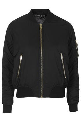 Petite Ma1 Bomber Jacket - pattern: plain; style: bomber; predominant colour: black; length: standard; fit: straight cut (boxy); fibres: polyester/polyamide - 100%; collar: shirt collar/peter pan/zip with opening; sleeve length: long sleeve; sleeve style: standard; collar break: high; texture group: other - light to midweight; season: a/w 2015; trends: tomboy girl; wardrobe: highlight