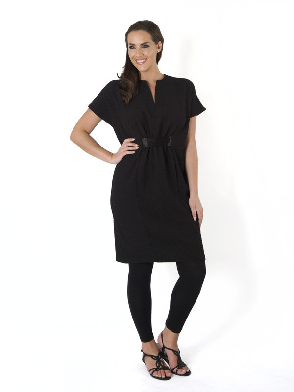 Black Pique Jersey Empire Line Dress - style: shirt; pattern: plain; predominant colour: black; occasions: casual, creative work; length: just above the knee; fit: body skimming; neckline: collarstand; fibres: polyester/polyamide - stretch; sleeve length: short sleeve; sleeve style: standard; pattern type: fabric; texture group: jersey - stretchy/drapey; season: a/w 2015; wardrobe: basic