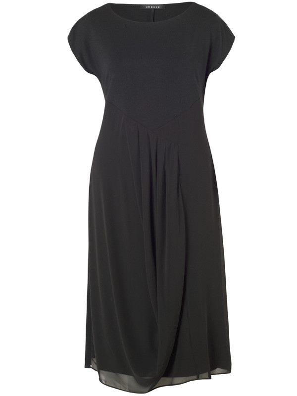 Black Pleat Trim Jersey & Chiffon Cap Sleeve Dress - style: shift; length: below the knee; neckline: round neck; pattern: plain; predominant colour: black; occasions: evening; fit: body skimming; fibres: viscose/rayon - stretch; hip detail: subtle/flattering hip detail; sleeve length: short sleeve; sleeve style: standard; pattern type: fabric; texture group: jersey - stretchy/drapey; season: a/w 2015; wardrobe: event