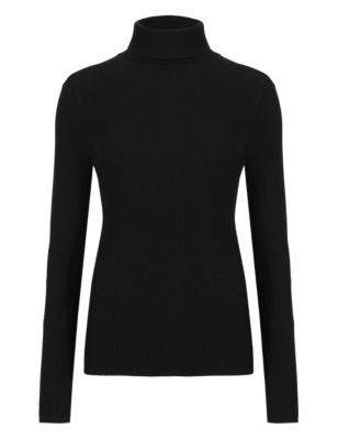 Ribbed Polo Neck Jumper - pattern: plain; neckline: roll neck; style: standard; predominant colour: black; occasions: casual, creative work; length: standard; fit: tight; sleeve length: long sleeve; sleeve style: standard; texture group: knits/crochet; pattern type: knitted - fine stitch; fibres: viscose/rayon - mix; season: a/w 2015; wardrobe: basic